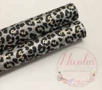 Silver Leopard Fine Glitter Fabric