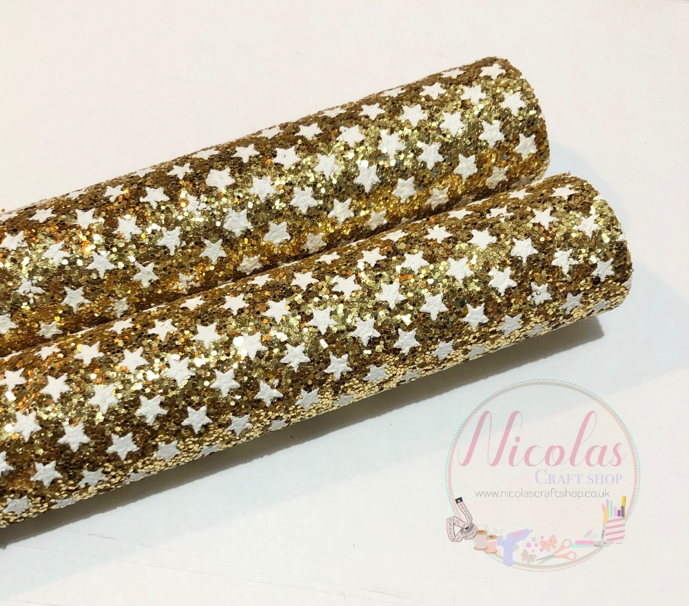 Gold star printed chunky glitter a4