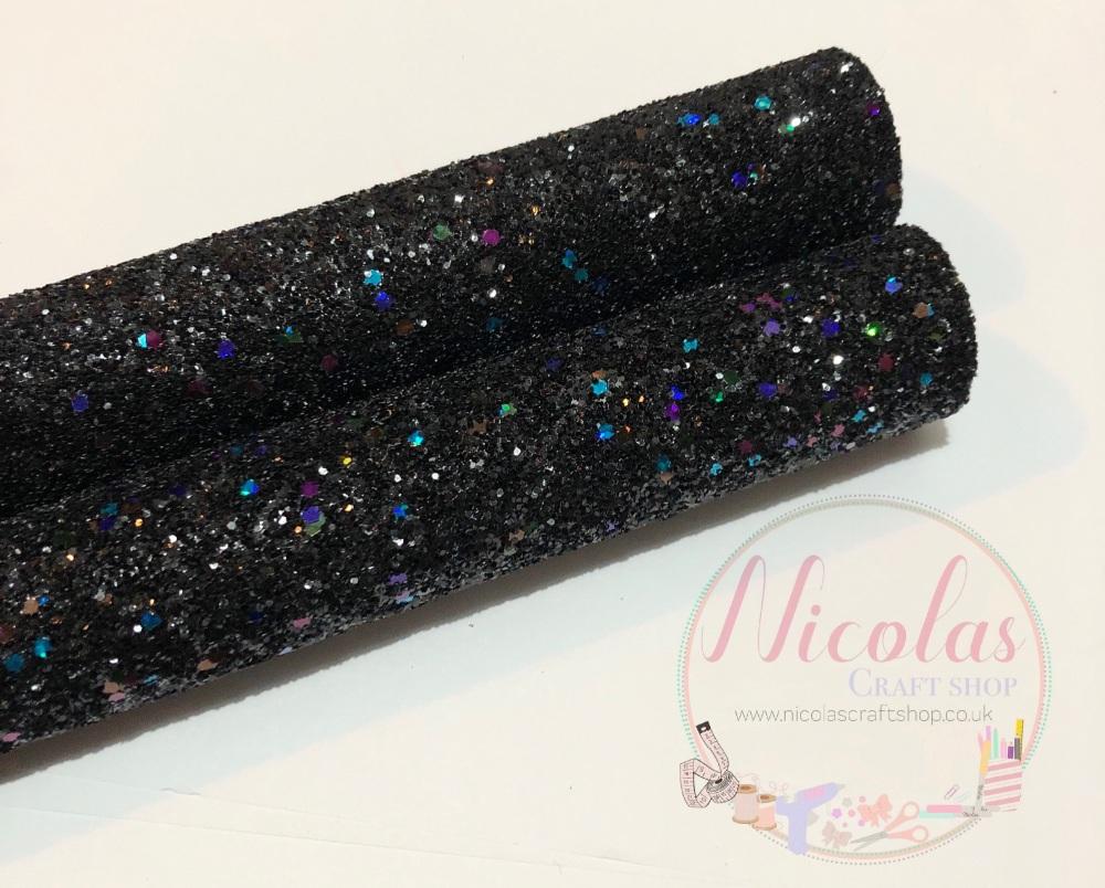 Galaxy black chunky glitter a4