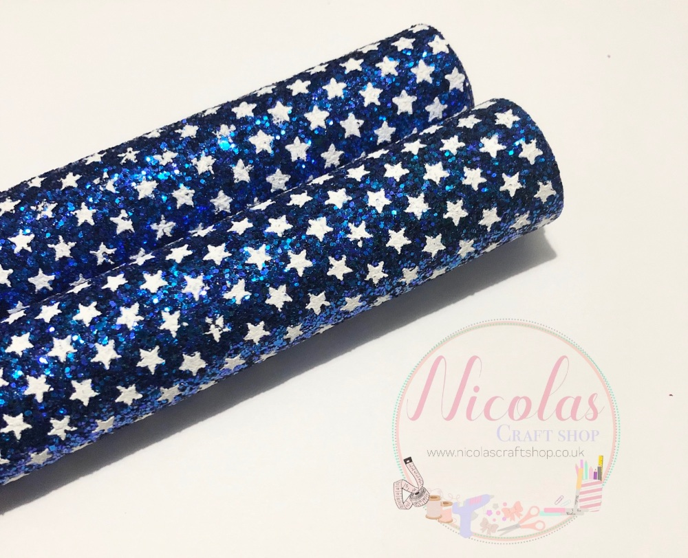 Royal blue star printed chunky glitter a4