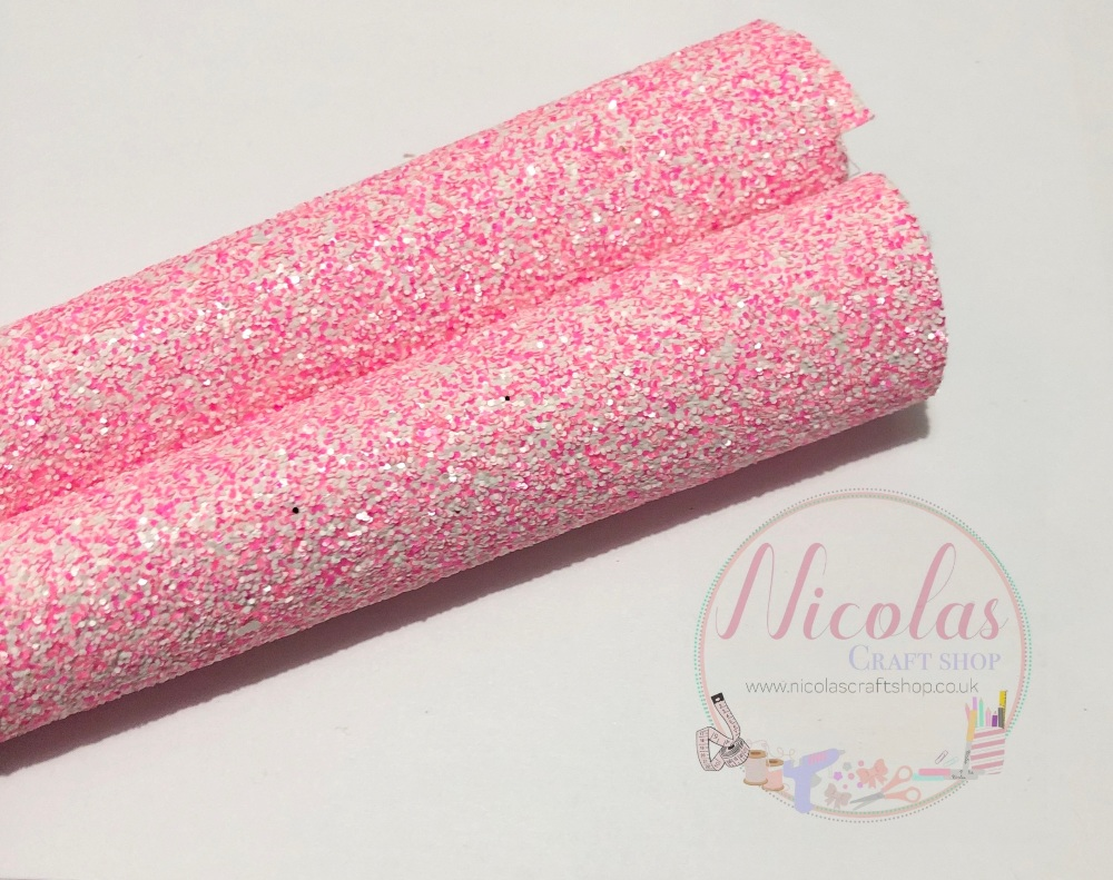 Pink powder chunky glitter a4