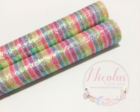 Pastel rainbow stripe frosted glitter a4