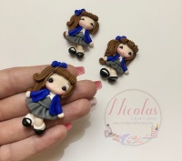 Brown Hair - Blue Cardigan School Girl Polymer clay