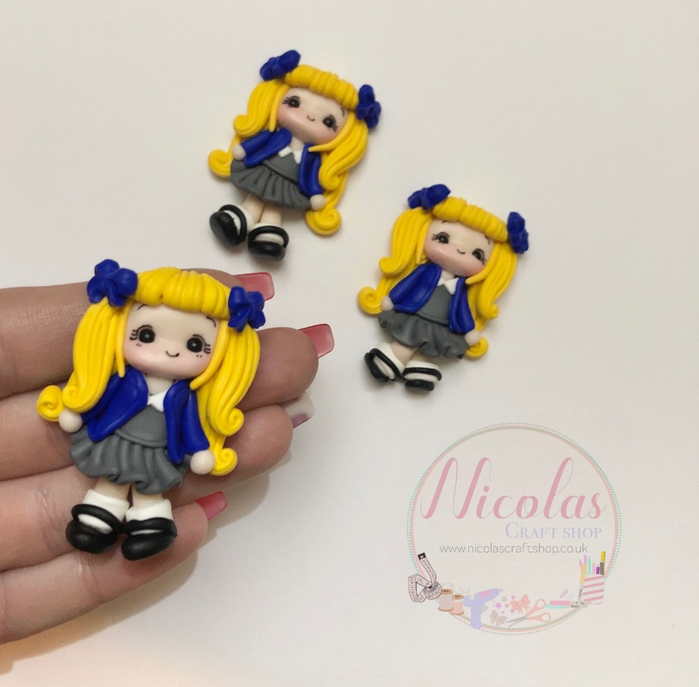 Blonde Hair - Blue Cardigan School Girl Polymer clay