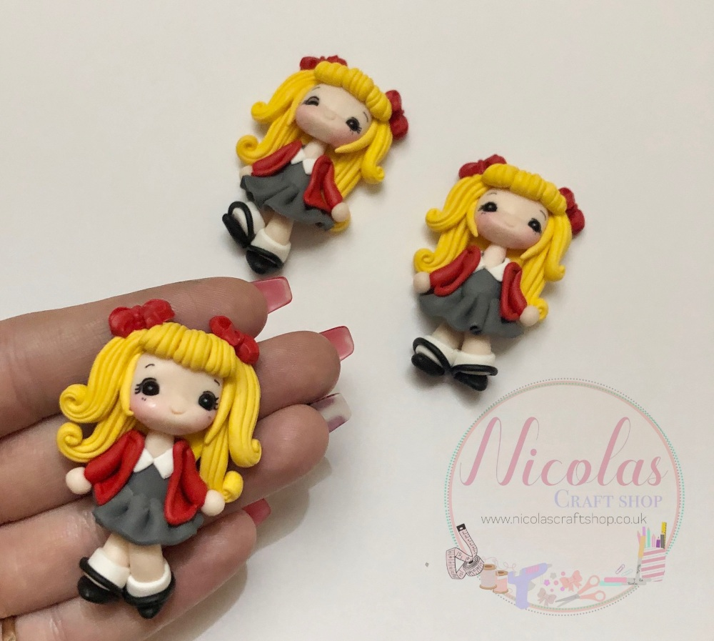 Blonde Hair - Red Cardigan School Girl Polymer clay