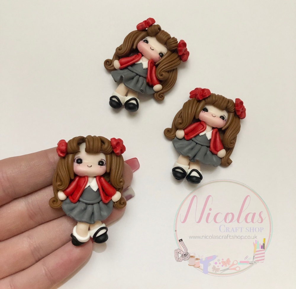 Brown Hair - Red Cardigan School Girl Polymer clay