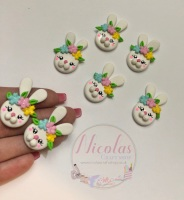 Easter Bunny Head - Floral polymer clay