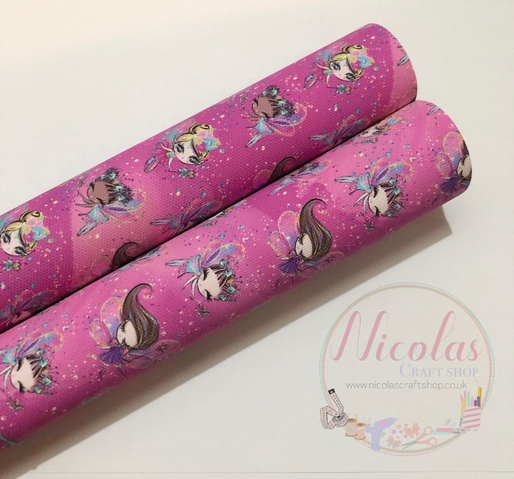 Hot pink pastel fairies swirly printed canvas sheet