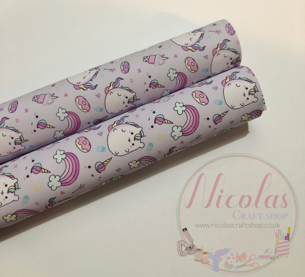 Lilac kawaii unicorn printed canvas sheet