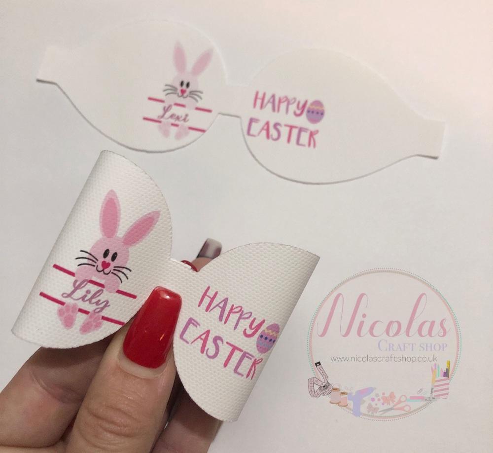 Pink Easter Bunny pre cut bow loop personalised