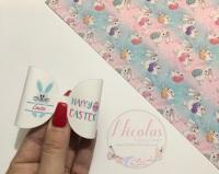 Blue Easter Bunny pre cut bow loop personalised