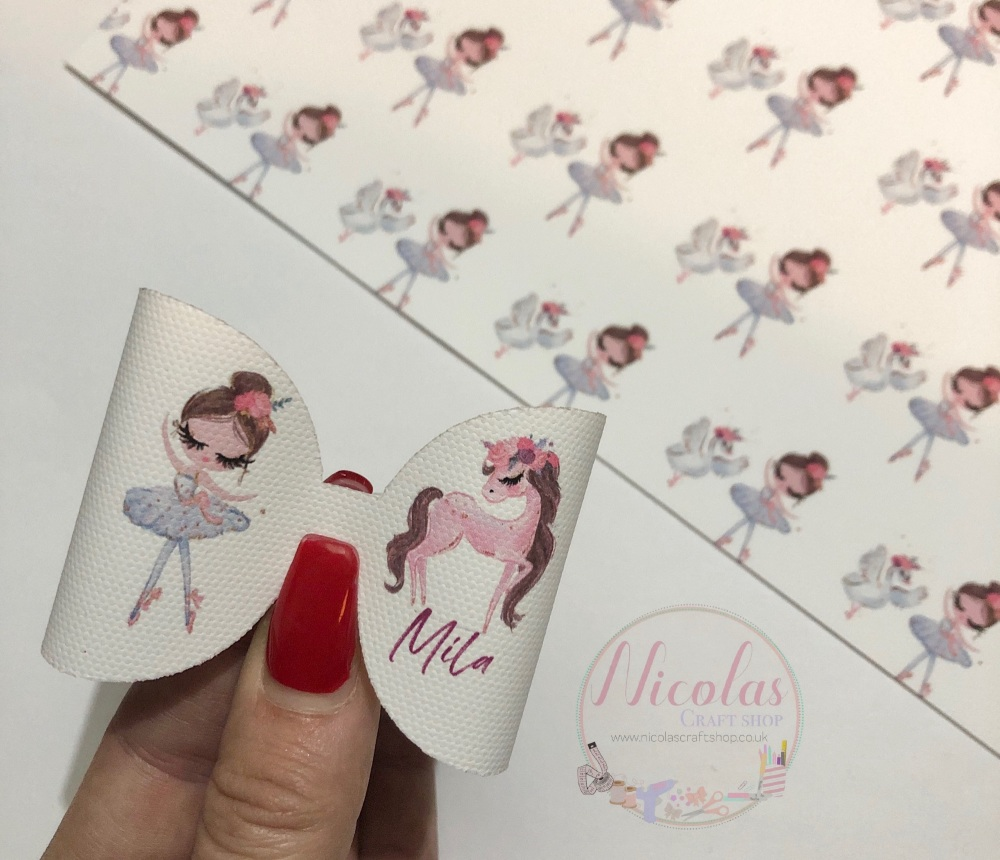 Ballerina Girl - Unicorn pre cut bow loop personalised