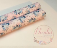 1010 - Baby pink floral printed canvas sheet