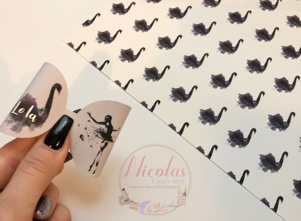 Personalised Black swan and ballerina watercolour Printed bow loop