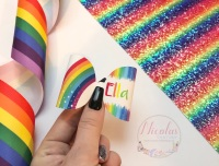 Personalised bright rainbow printed bow loop
