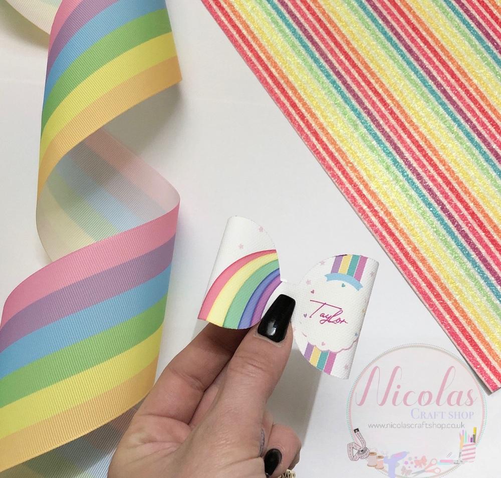 Pastel Rainbow personalised bow loop