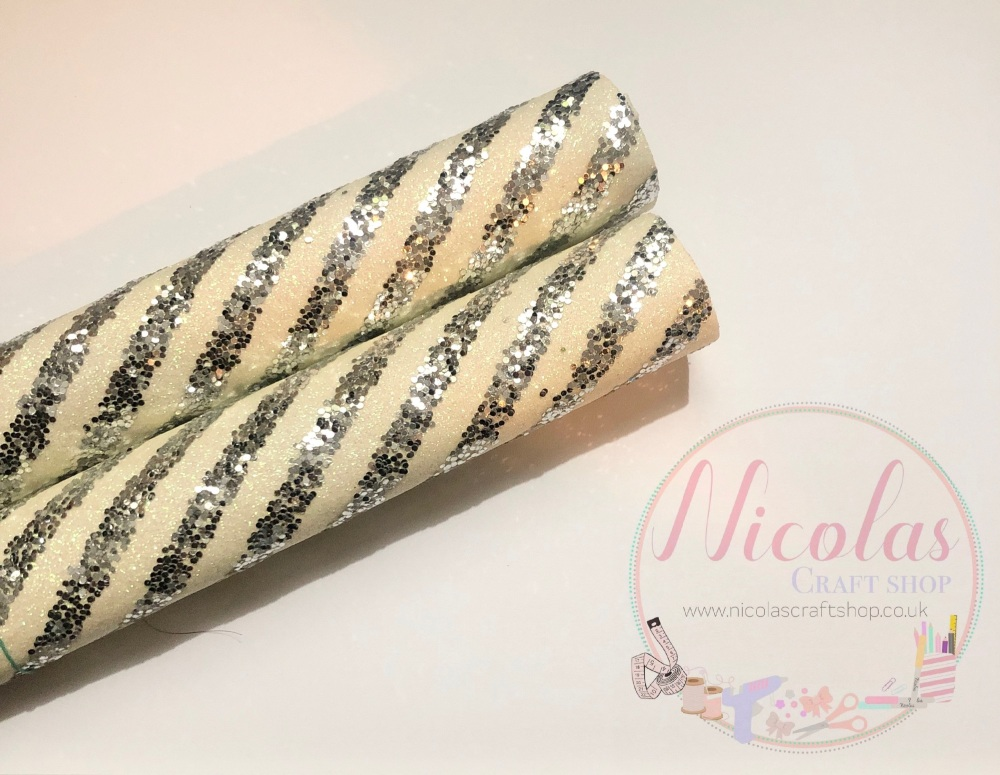 White silver layered stripe fine glitter sheet a4