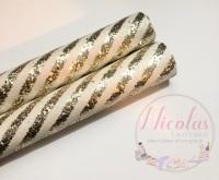 White gold Layered Stripe Fine Glitter Fabric