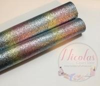 Pastel Rainbow Effect Fine Glitter Fabric