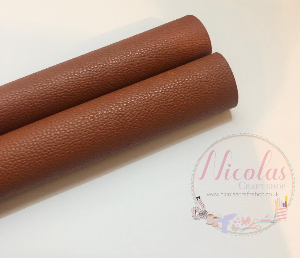 Litchi brown plain leather a4