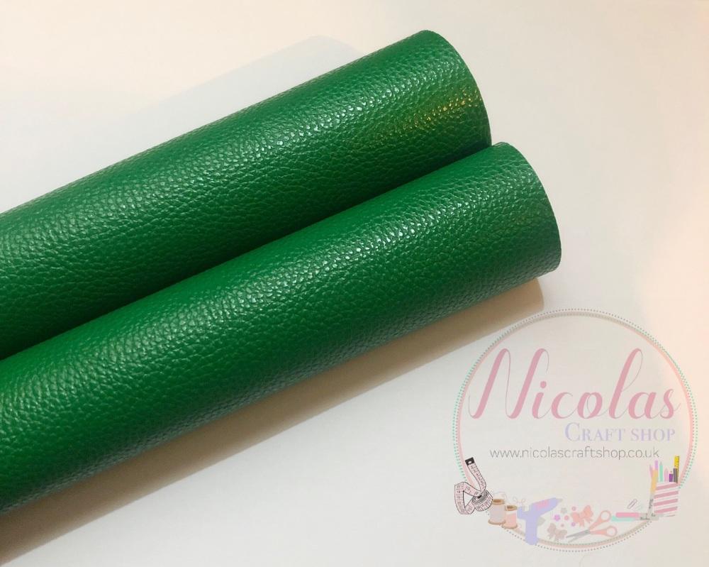 Litchi dark green plain leather a4