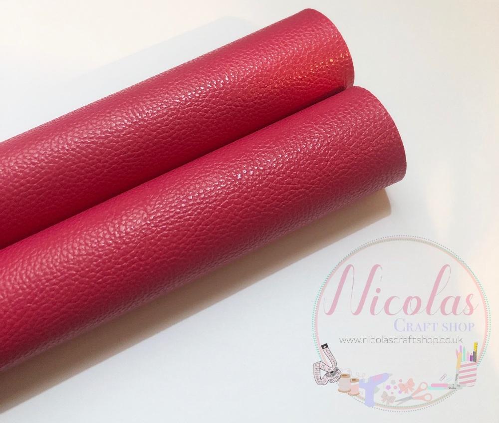 Litchi cranberry plain leather a4
