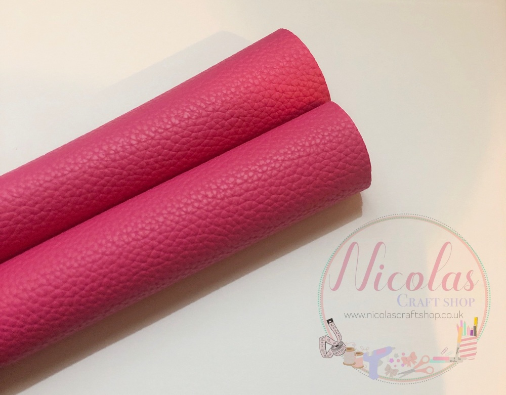 Litchi Hot Pink Plain Leather a4