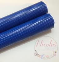 Glossy royal blue patterned plain leather a4