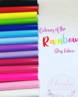 Stunning colours of the rainbow vinyl gloss fabric
