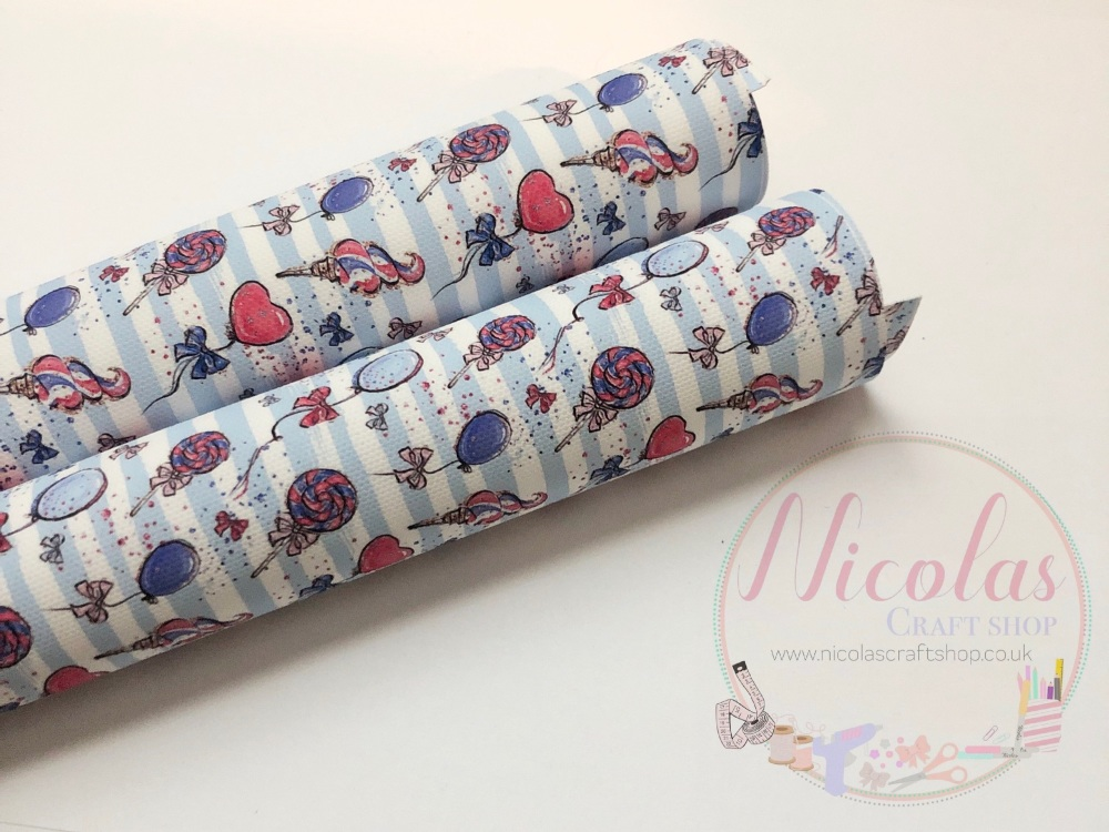 1189 - Blue stripe balloon ice cream 4th july inspired print printed canvas sheet 4th july