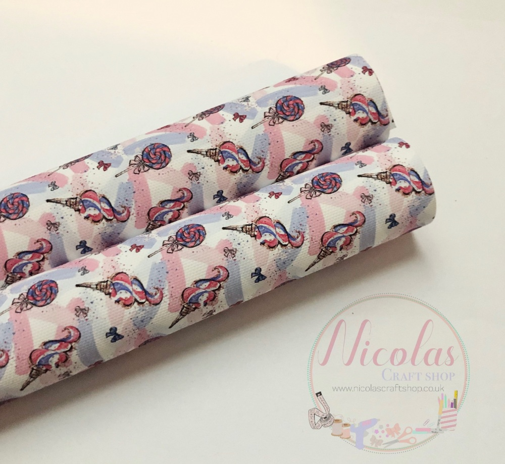 1188 -  Ice cream lollipop zoom highlight 4th july inspired print printed canvas sheet