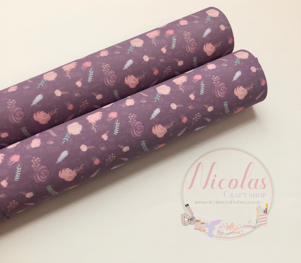 Dark lilac printed floral flower printed canvas sheet