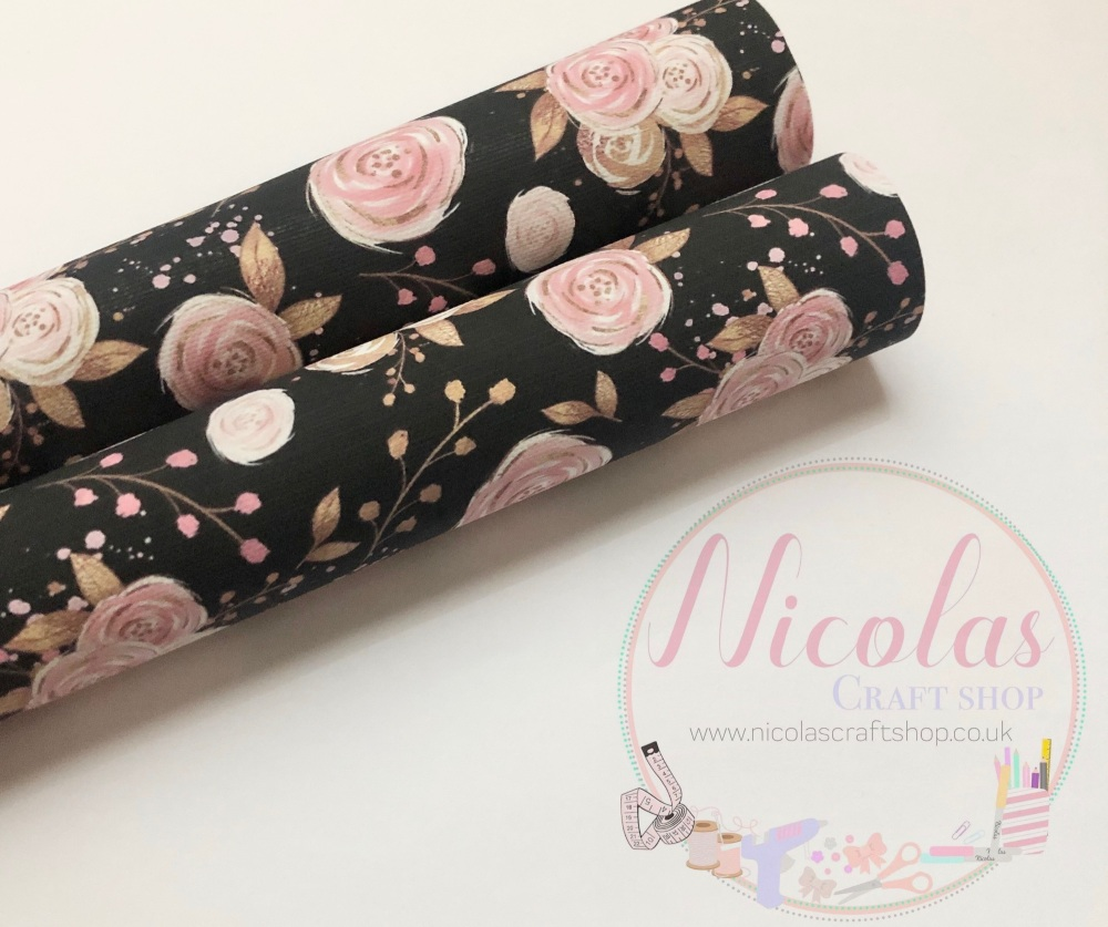 Black rose pink floral flower printed canvas sheet