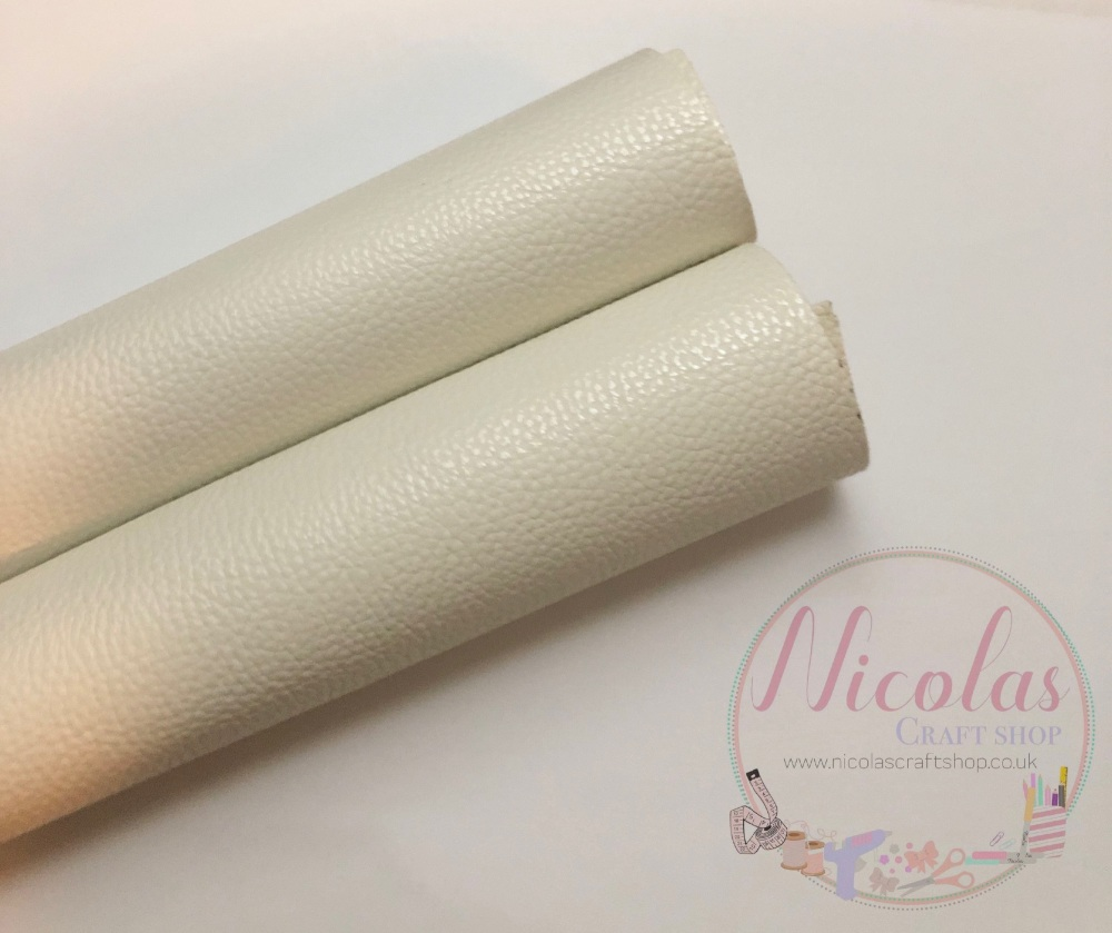Litchi white plain leather a4
