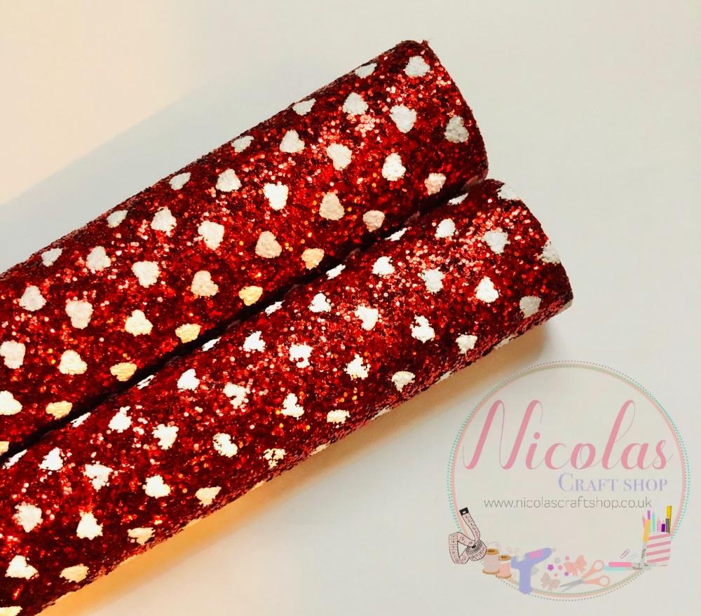 Red heart chunky glitter fabric