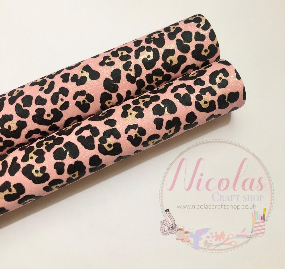 Pink leopard Fine Glitter Fabric