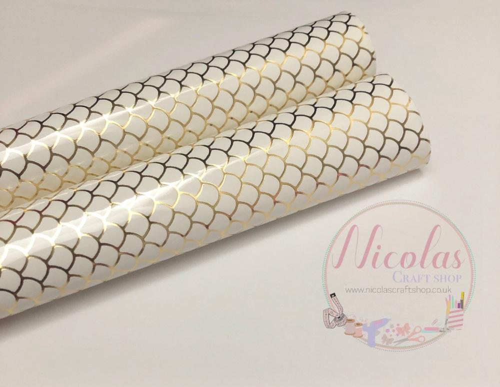 Gloss white mermaid print leather