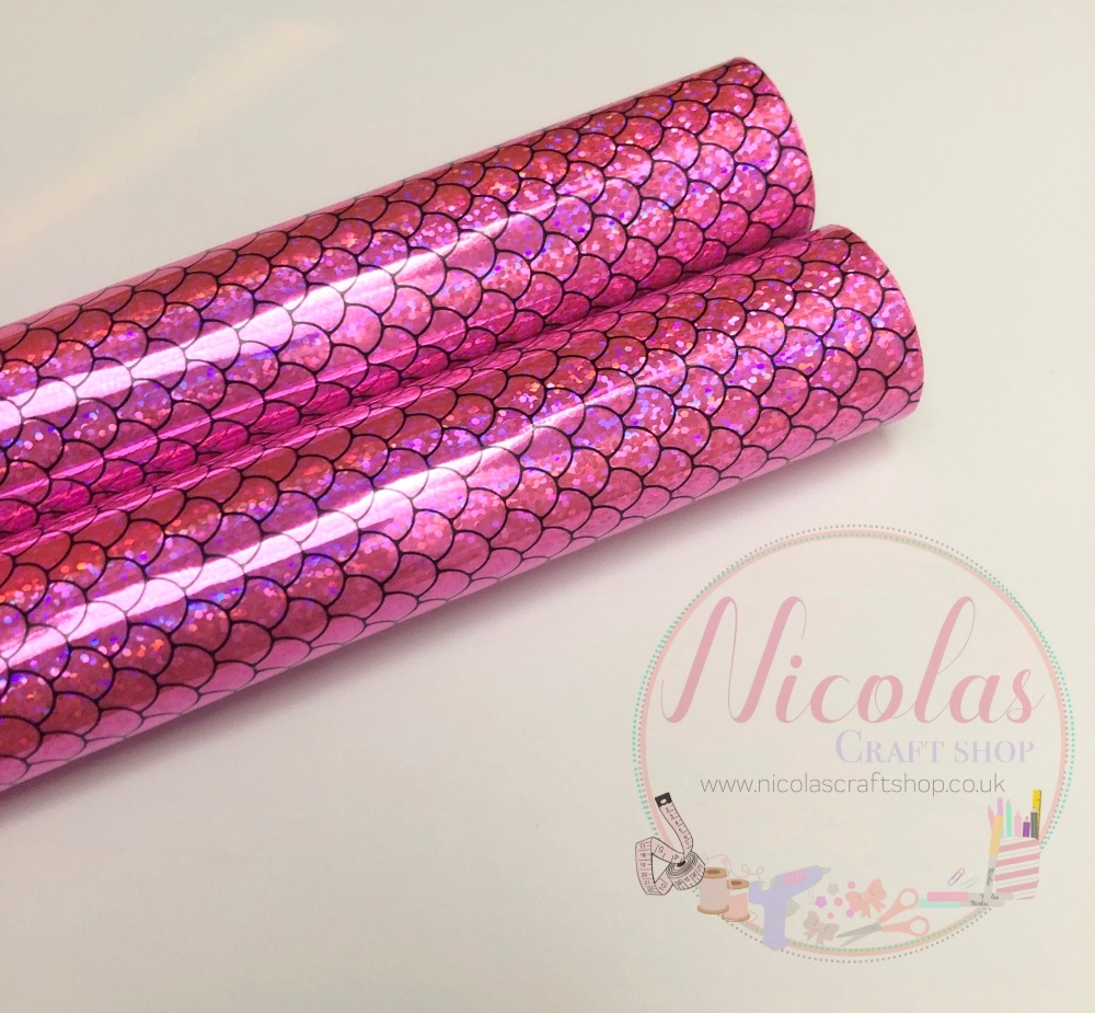 Pink irredescent mermaid scale fish tail printed fabric