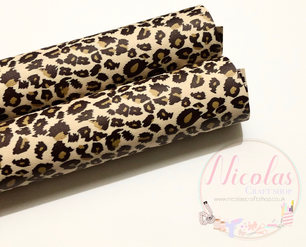 Nude tan leopard printed leatherette a4