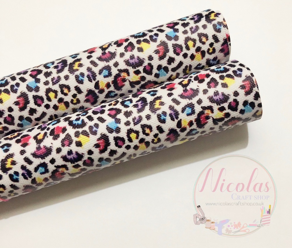 Colourful leopard print printed leatherette a4