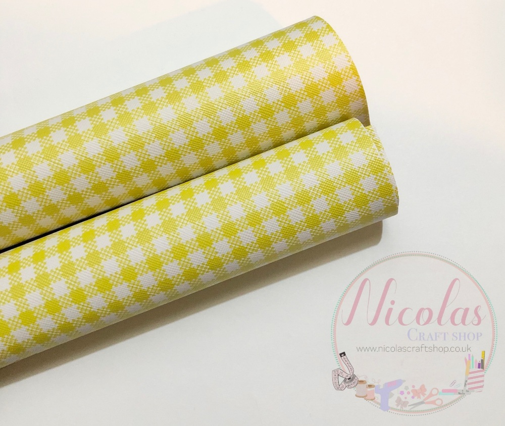 Yellow Gingham print printed leatherette fabric