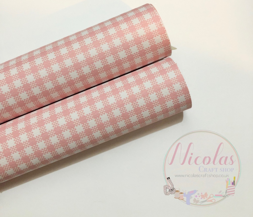 Pink Gingham print printed leatherette fabric
