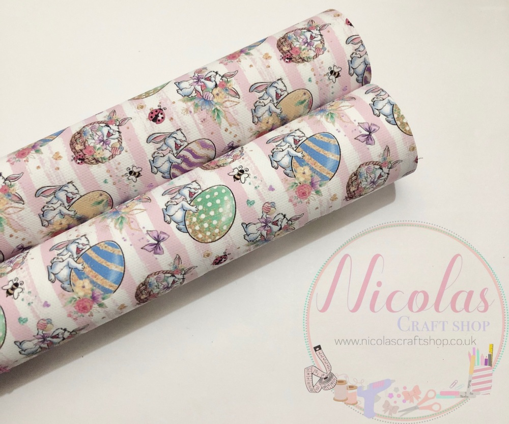 1068 - Pink striped crazy bunny egg printed canvas fabric