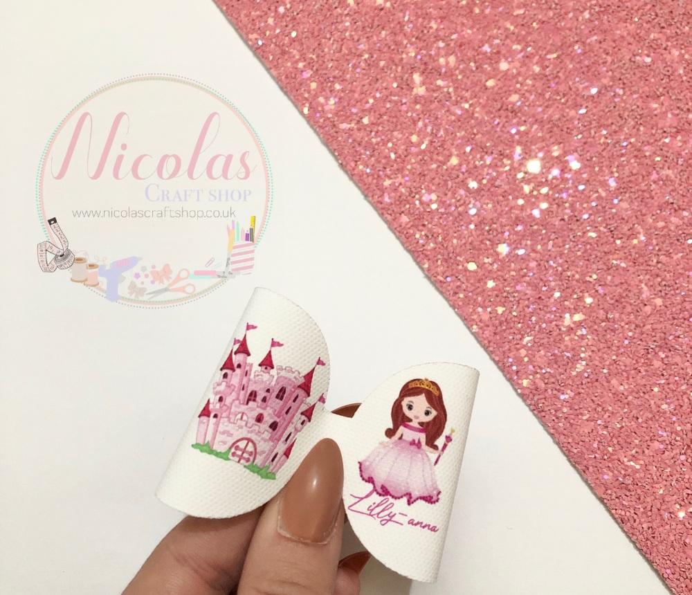 Princess Castle personalised printed bow loop pre cut