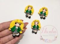 Blonde hair - Green cardigan school girl polymer clay