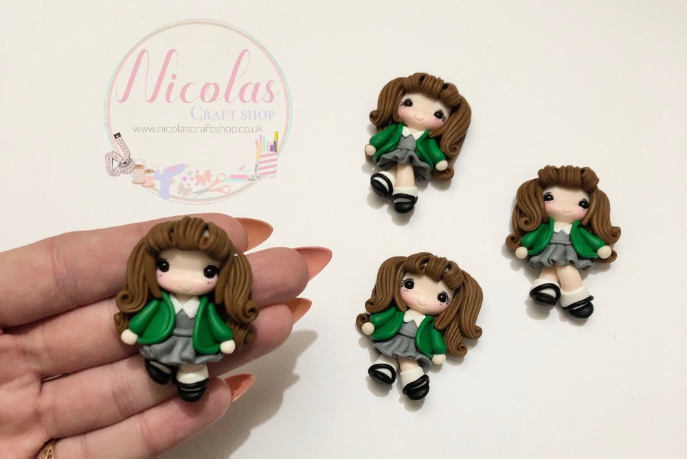 Brown hair - Green cardigan school girl polymer clay