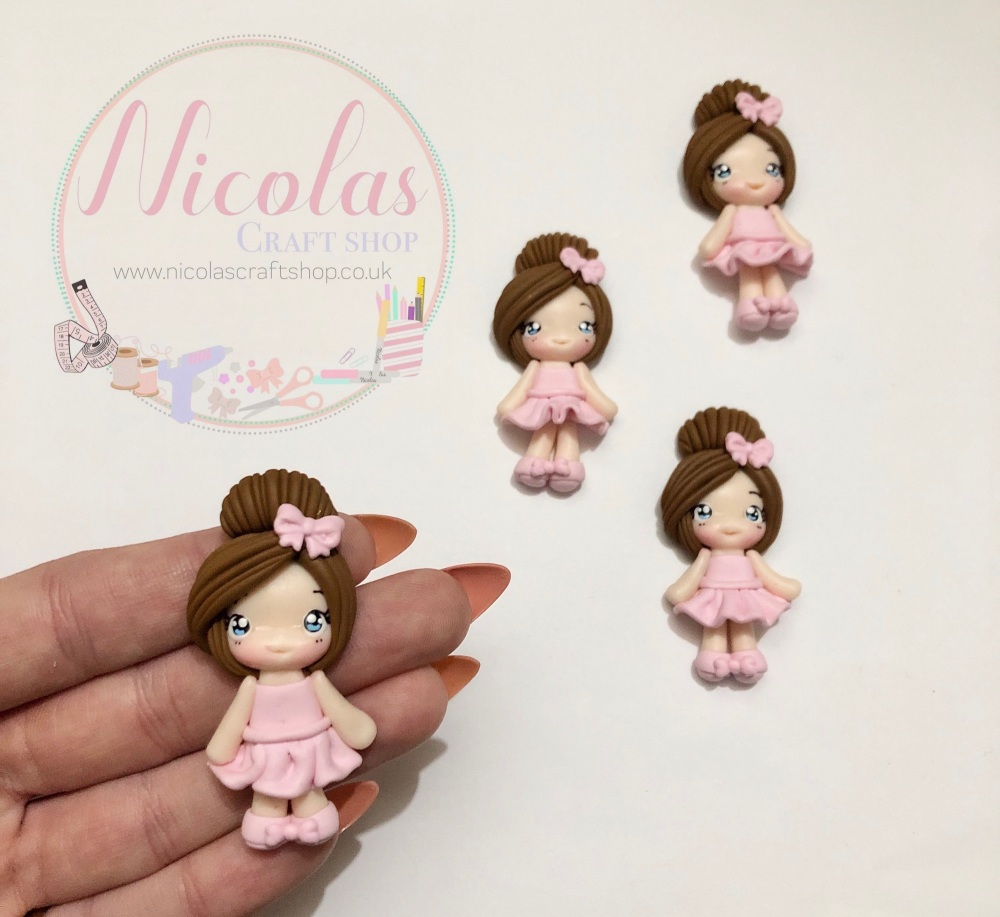 Pretty Pink hair bow ballerina polymer clay doll
