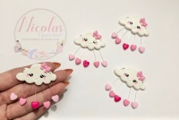 Pretty in Pink large heart cloud polymer clay