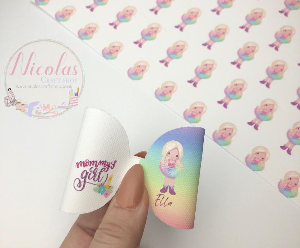 Rainbow Mummys Girl Blonde Hair Printed canvas loop pre cut