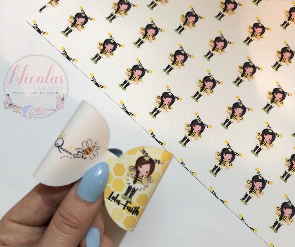 Queen Bee Girl personalised pre cut bow loop